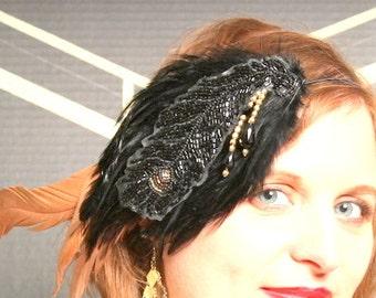 Holiday Headband, Hand Beaded Black and Gold 1920's Flapper inspired Retro Style Headband, Whimsy, Gatsby