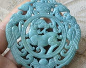Carving phoenix Jade Pendant Jade Pendant, Double Face sheep Jade Pendant Amulet Talisman,Jade Necklace Pendant Jewerly