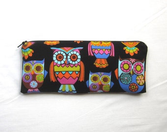 Skinny Owls Zipper Pouch / Pencil Case