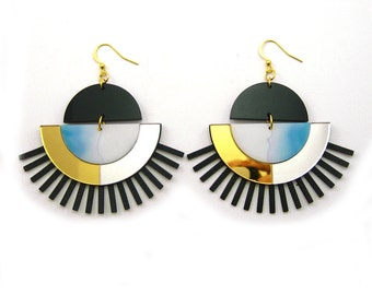 CRESCENT Phoenix Statement Earrings - Big Earrings, Watercolor, Dangle Earrings, Marble Earrings, Modern Earrings, Geometric, Architectural