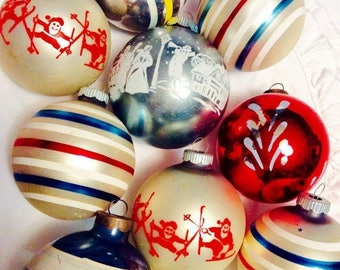 Mercury Glass Ornaments 10 Shiny Brite 1950s Vintage Christmas Stripe Stencil Red and Blue