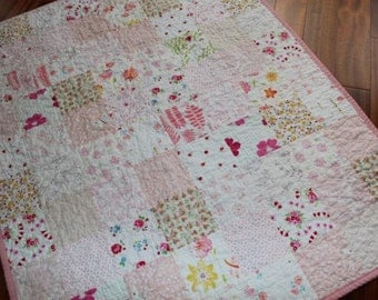 Low Volume Patchwork Baby Girl Quilt