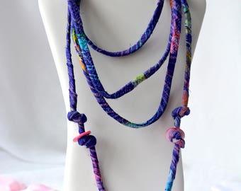 Boho Fiber Necklace, Handmade Beach Necklace, Multi Strand Infinity Necklace, Skinny Fashion Necklace, Trendy Fiber Wrap Jewelry