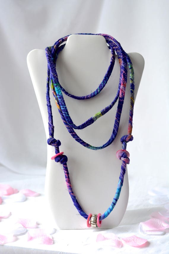 Boho Fiber Necklace, Handmade Beach Necklace, Multi Strand Infinity Necklace, Skinny Fashion Necklace, Trendy Fiber Wrap Jewelry