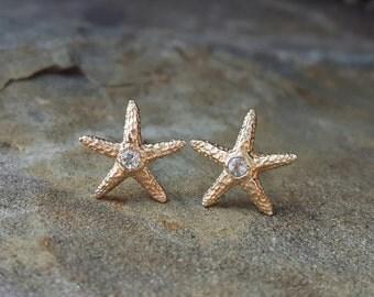 Aquamarine Earrings March Birthstone Aquamarine Stud Earrings Aquamarine Jewelry Starfish Earrings Womens Gift Starfish Studs 14K Gold Studs