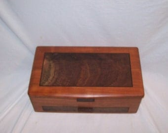 Ladies Large Jewelry Box Handmade of Cherry with Fancy Walnut Inlayed Panel from our Elite Collection