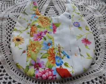Flowered Baby Bib (Reversible)