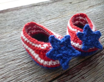 Red, White and Blue Crocheted Baby Booties, Crocheted Baby Booties, Crocheted Patriotic Booties