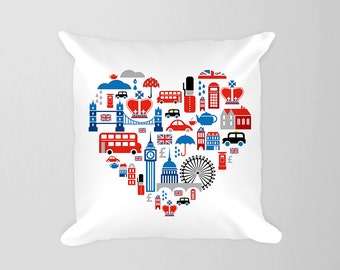 London Heart Pillow,  British Union Jack UK Pillow, Travel Nursery Decor London, Bus Big Ben Pillow London Decor, British Baby Room Decor