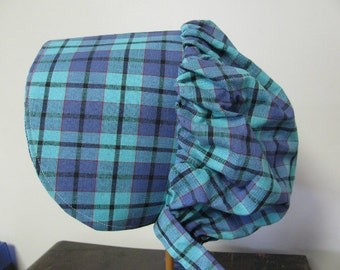 Prairie bonnet,  6 years old to adult, pioneer, frontier, Violet and Turquoise Plaid, Ladies,
