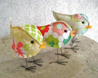 one of three miniature fabric stuffed bird soft sculpture farmhouse wedding cake topper quilting birdies