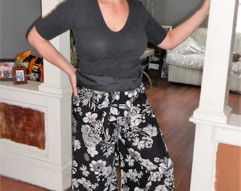 Thai Pants Rayon Black and White Floral