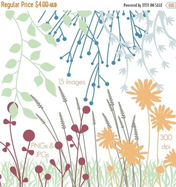 TEACHER SALE Flower Silhouettes Clip Art Clipart Flower Clip Art Clipart - Personal and Commercial Use