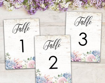 Sweet Rustic Boho Floral Succulent Printable Wedding Table Numbers Fill In Your Table Numbers, Instant Download Print Your Own