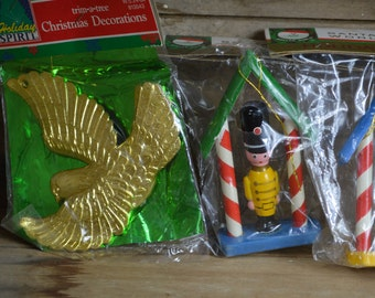 Vintage Christmas Ornaments Lot Gold Dove Toy Soldiers Gold Bugle 4 Total 1970s  1980s Still in Package