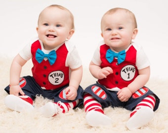 Thing 1 and Thing 2 Matching Red Twins Tuxedo Bodysuits with Matching Removable Bow Ties