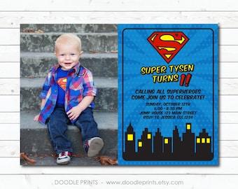Super Man Invitation, Picture Birthday Invitation, Super Hero Birthday Party, Heroes Justice League Superman, Printable Digital Invite