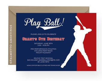 PRINTABLE - Baseball Birthday Party Invitation Customize all Text, Batter Up, Ballgame, TBall, Spring Training, Take me out to the ballgame