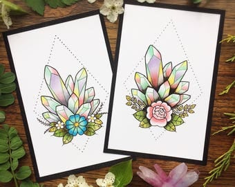 Geometric Pastel Crystals Botanical Tattoo Flash PRINT by Michelle Kent