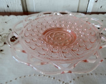 Pink Depression Glass Antique Collectible Plate Lace Edge Glass 1930's Vintage Serving Dish
