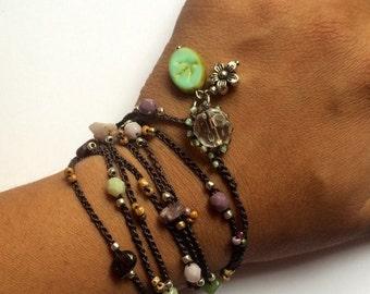 "Holiday Sale! Crochet bracelet, beaded, ""Earth bird"", boho wrap bracelet, boho necklace, bohemian jewelry, crochet jewelry, fall fashion,..."