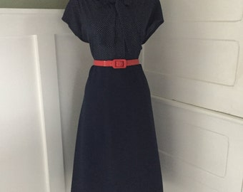 Vintage Sexy 1960s 1970s Navy Blue Polka Dot Short Sleeve ATOMIC Day Shirt Dress w Ascot Tie Neck Pussy Bow