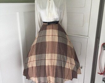 VINTAGE 1960s High Waisted Brown and Beige Plaid Full Pleated Skirt