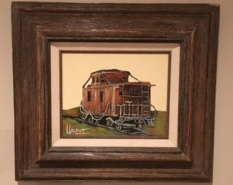Original Frank Walcutt Train Caboose Oil Painting-Signed Frank Walcutt Painting