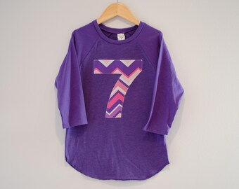Girls 7th Birthday Shirt, Ready to Ship, Purple and Pink Chevron Number 7 Shirt, Purple Raglan Tshirt, Girls Seven Shirt, Seventh Size S 6 8