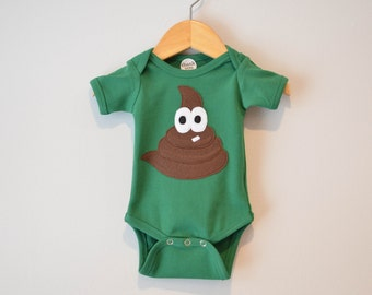 Ready to Ship, Size 0-3m, Baby Boy Bodysuit, Applique Poop, Little Stinker, Funny Baby Shower Gift, Short sleeve Green Bodysuit, Felt  Potty