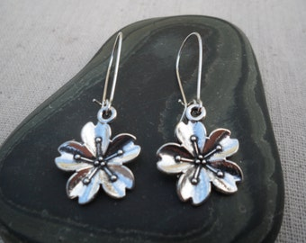 Silver Cherry Blossom Earrings - Silver Flower Earrings - Simple Everyday Silver Earrings