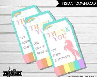 Unicorn Birthday Party Printable Favor Tags by Fara Party Design |Favor Tags | Unicorn Pastel Rainbow Birthday