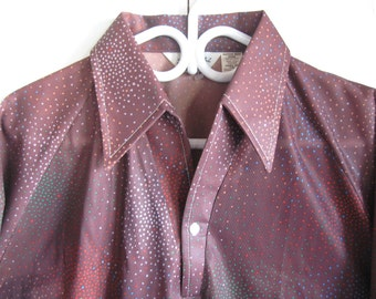 NOS divine men's polyester vintage disco shirt Lilly Dache L microdot bursts blue green red on brown