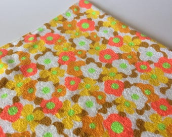 Amazing vintage cotton terry cloth hippie neon daisy floral material fabric yellow orange gold green on white