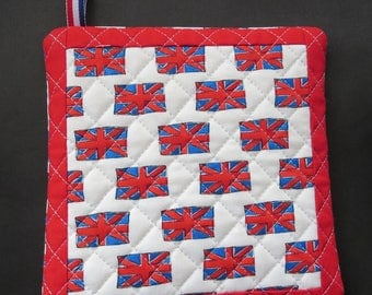 British Flag Pot Holder /Trivet / Wall Decor - Made With Hard To Find Fabrics