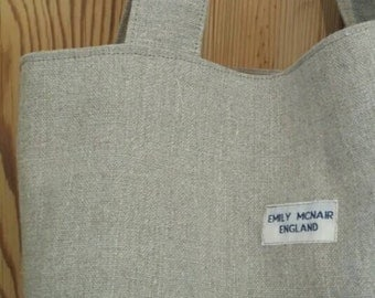 Large Tote Market Shopper Bag in Neutral Stone Linen One of a Kind Ready to Ship