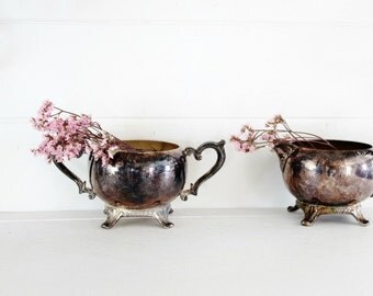Vintage Silver Creamer and Sugar Bowl Set - Succulent Planters, Vintage Wedding Decor