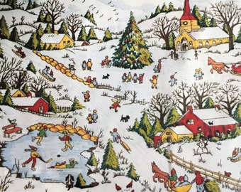 Vintage Winter's Delight Snowy Village Scene Adele Veres 1976 Paragon Crewel Embroidery Kit Prim Children Church Farm Christmas Tree