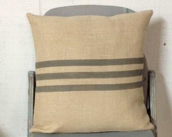 Gray Striped Burlap Pillow Grain Sack Pillow Cover by sweet janes plan