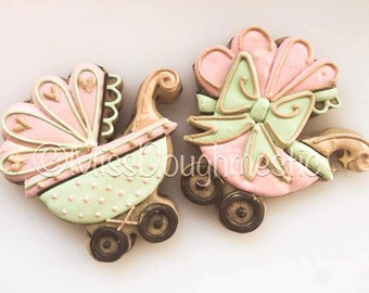 Miss Doughmestic Baby Carriage Cookie Cutter and Fondant Cutter and Clay Cutter