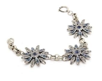 Three Flower Bracelet in Swarovski Crystals Daisy, Gerbera Flowers