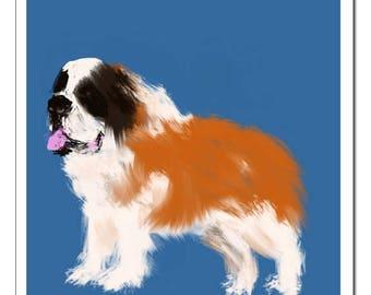 St. Bernard Dog Illustration-Pop Art Print
