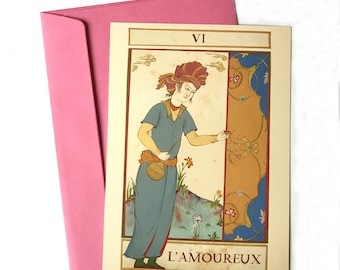 Persian painting large postcards/original Persian miniature cards/Tarot card/ Lovers card/L'Amoureux
