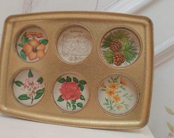 Vintage Colorado drink tray with flowers and pine cones