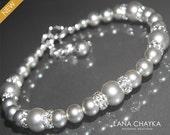 Light Grey Pearl Bracelet Swarovski Gray Pearl Silver Bracelet Wedding Light Gray Beaded Bracelet Bridesmaids Bridal Pearl Bracelets