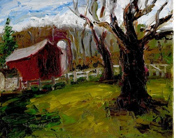 Original expressionist landscape oil painting 8x10 barn silo rolling fields winter trees Red Fox Stables in Succasunna, NJ.