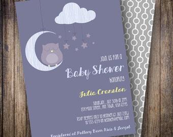 Sleepy Owl Baby Shower Invitation, Sleepy Owl Baby Shower Invite, Printable Owl Baby Shower Invitation - Sleepy Owl in Blue, Purple, Yellow