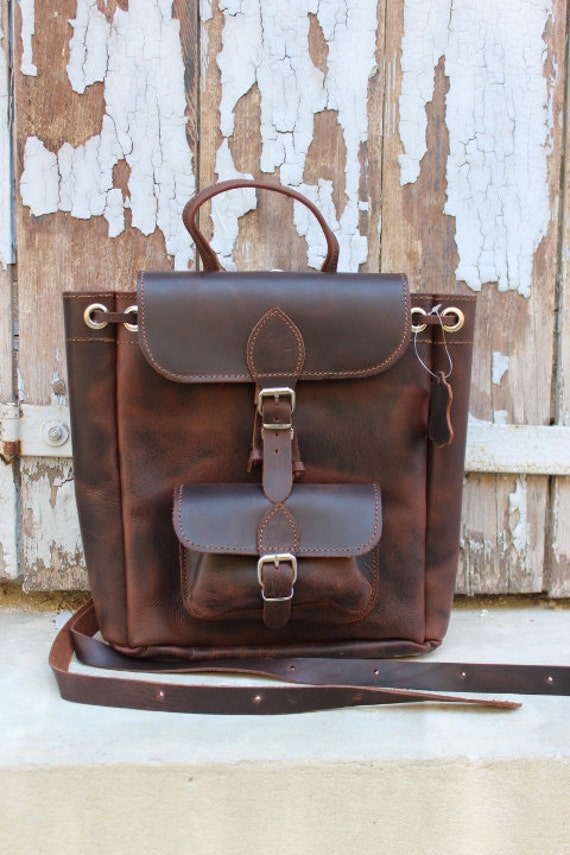 Brown leather small laptop bag,small  leather backpack handmade leather bag sac a dos cuir marron