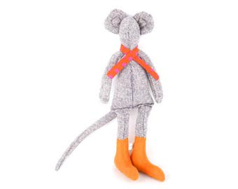 Mouse doll , Stuffed animal , soft doll , Mouse plush , Handmade Fabric Doll , children room decor , nursery decor , mice toy , First doll