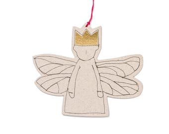 Nursery wall art , Hanging angel , gray paper doll , dragonfly wings , tree ornament , gold foil gift tag , Guardian angel , holiday decor